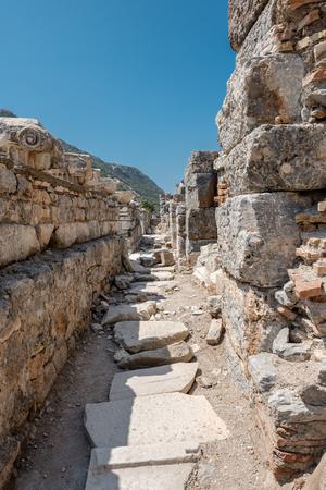 General view of marble Ruins in Ephesus historical ancient city, in Selcuk,Izmir,Turkey.