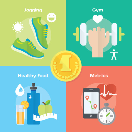Jogging and running winner concept flat icons of gym, healthy food, metrics. Isolated vector illustration and modern design element