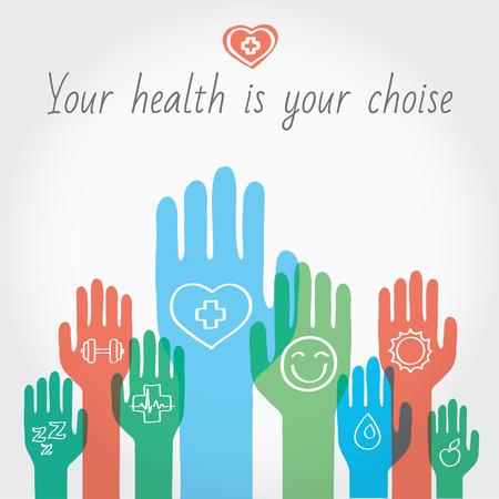 Foto de Healthy lifestyle hand drawn illustration. Vector illustration and design element - Imagen libre de derechos