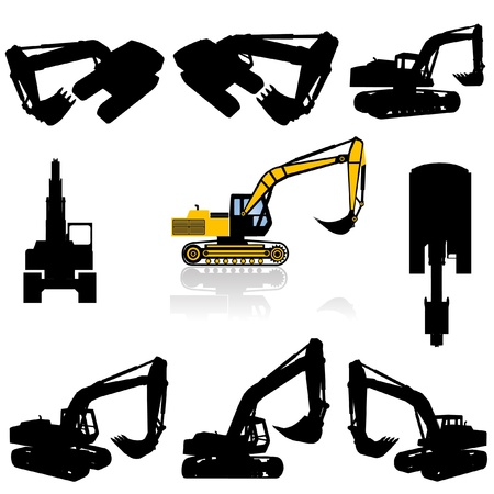 Photo for construction machine silhouette set  - Royalty Free Image