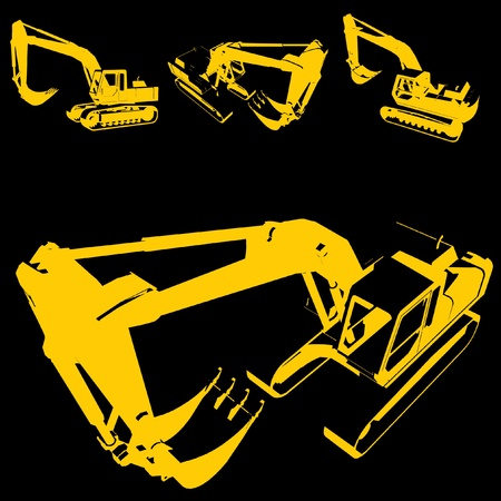 Illustration pour construction machine silhouette set  - image libre de droit