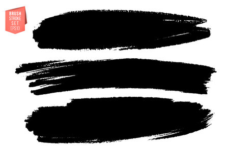 Illustration for Vector set of hand drawn brush strokes, stains for backdrops. Monochrome design elements set. Black color artistic hand drawn backgrounds various shape - Royalty Free Image