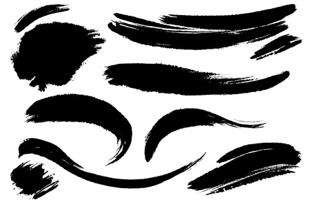 Illustration for Vector set of hand drawn brush strokes, stains for backdrops. One color monochrome artistic hand drawn backgrounds. Monochrome design elements set. - Royalty Free Image