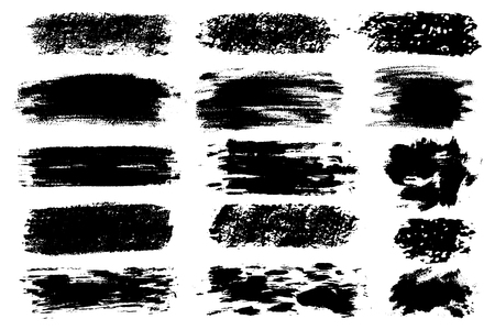 Illustration for Vector set of hand drawn brush strokes, stains for backdrops. Monochrome design elements set. One color monochrome artistic hand drawn backgrounds - Royalty Free Image