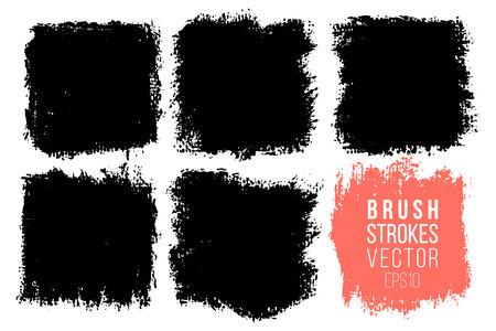 Illustration pour Vector set of big hand drawn brush strokes, stains for backdrops. One color monochrome artistic hand drawn backgrounds. Monochrome design elements set square shapes - image libre de droit