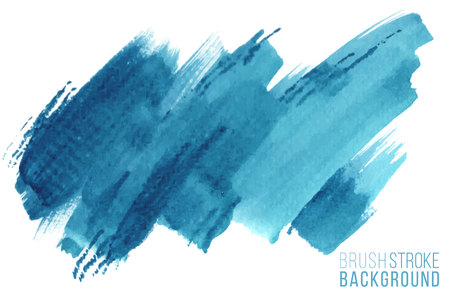 Illustration for Colorful painted stroke. Vector hand drawn watercolor brush stain. Blue color hand drawn background - Royalty Free Image