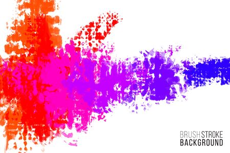 Illustration pour Artistic backdrop. Vector with brush splashes. Brush paint look background with colorful hand painted stains. Rainbow colors backdrop. - image libre de droit