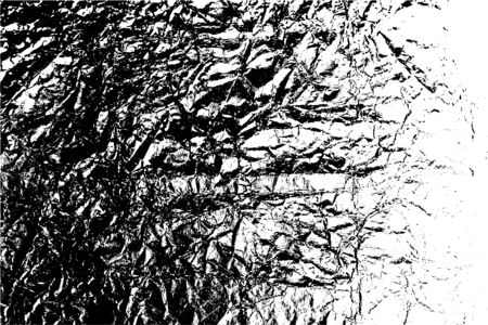Illustration for Distressed overlay texture of rough surface, crumpled foil, cracks and creases. Grunge background. One color graphic resource. - Royalty Free Image