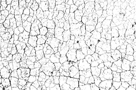 Illustration for Distressed overlay texture of rough surface, dry soil, cracked ground. Grunge background. One color graphic resource. - Royalty Free Image