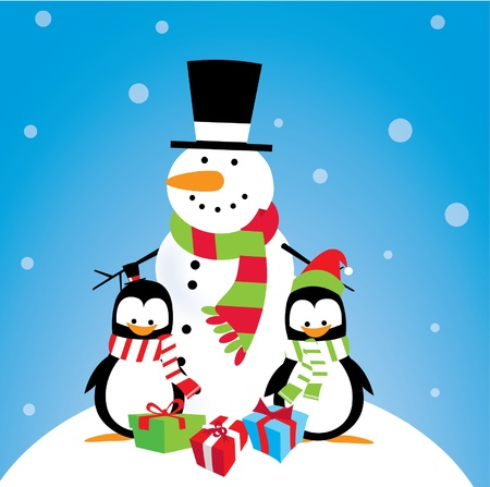 Snowman with Penguin Friends