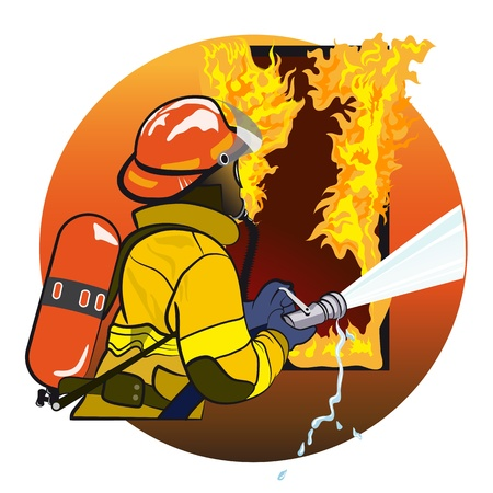 Firefighter extinguishes fire  The emblem