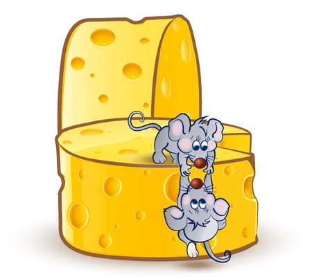 Little mouse helps the other little mouse to climb the big cheeses