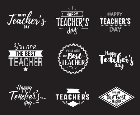 Illustration for Happy teachers day vector typography set. - Royalty Free Image