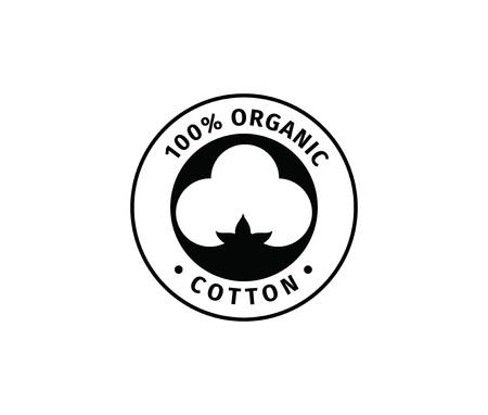 Illustration pour Natural organic cotton vector label, sticker, logo. Isolated icon on white background. - image libre de droit