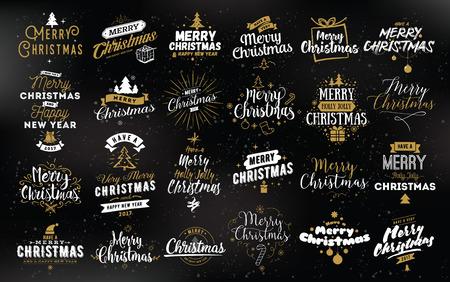 Illustration pour Merry Christmas and Happy New Year 2017 typographic emblems set. - image libre de droit