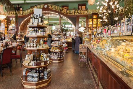 SAINT PETERSBURG, RUSSIA - APRIL 15, 2016: Interior of Yeliseev's Food Hall. Yeliseyev Grocery Store constructed in 19021903 for the Elisseeff Brothers, located at Nevsky Prospekt. It is one of the landmark of St. Petersburg