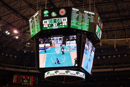 MALAGA, SPAIN - JANUARY 14: Unicaja Malaga against UCAM Murcia at Palacio de los Deportes on January 14, 2012 in Malaga, Spain. View of the scoreboard.