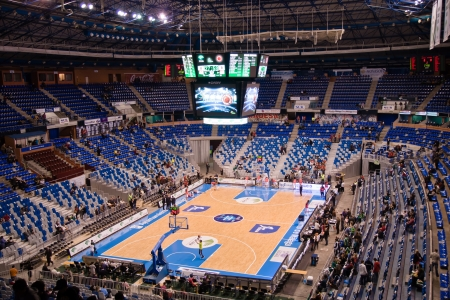 MALAGA, SPAIN - JANUARY 14: Unicaja Malaga against UCAM Murcia at Palacio de los Deportes on January 14, 2012 in Malaga, Spain. Overview of the stadium.