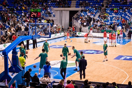 MALAGA, SPAIN - JANUARY 14: Unicaja Malaga against UCAM Murcia at Palacio de los Deportes on January 14, 2012 in Malaga, Spain