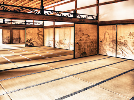 Photo for KYOTO, JAPAN - MARCH 25: The interior of the Kuri, the main building of Ryoanji Temple on March 25, 2015 in Kyoto, Japan. - Royalty Free Image