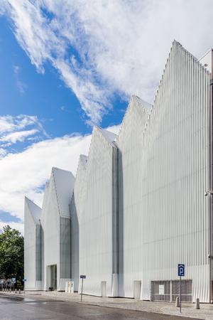 Szczecin, Poland - June 20, 2015: Facade of  The Szczecin Philharmonic Hall designed by Estudio Barozzi Veiga. Original building won the EU's architecture prize, the Mies van der Rohe Award 2015.