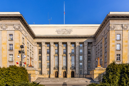 Katowice, Poland -  March 21, 2015: Seat of the local authorities of Silesia Voivodship in an old edifice built in the style of modernism. At the opening in 1929 the building was the largest in Poland.