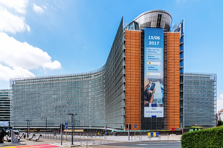 Photo pour BRUSSELS - JUNE 17, 2017: The Berlaymont office building – seat of the headquarters of the European Commission, the executive of the European Union. - image libre de droit
