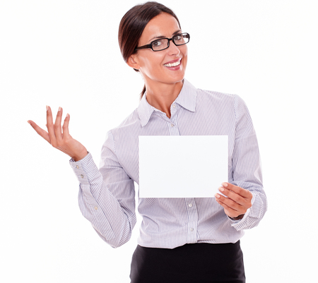 Excited Brunette Businesswoman With Glasses Wearing Her Long Hair