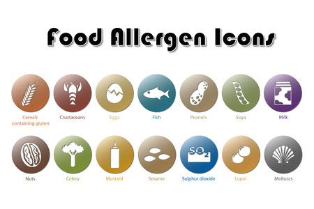 Ilustración de Food Allergen Icons - Imagen libre de derechos