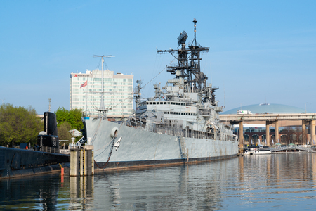 BUFFALO, NY - MAY 15, 2018: The guided missile cruiser USS Little Rock moored at the Buffalo & Erie Naval & Military Park in Buffalo New York