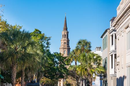 Charleston, SC - November 3, 2018: Steeple of St Phillip's Church along Church Street in Charleston, SC