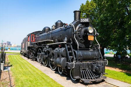 Windsor, Canada - September 21, 2019: The historic Spirit of Windsor steam locomotive along the banks of the Detroit River