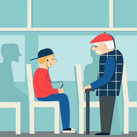 Illustrazione per Good manners.retired man in the bus.to give way to an elderly person.young boy with player. - Immagini Royalty Free