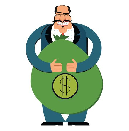 Rich businessman with a bag of dollars. Flat style modern vector illustration isolated on white background.