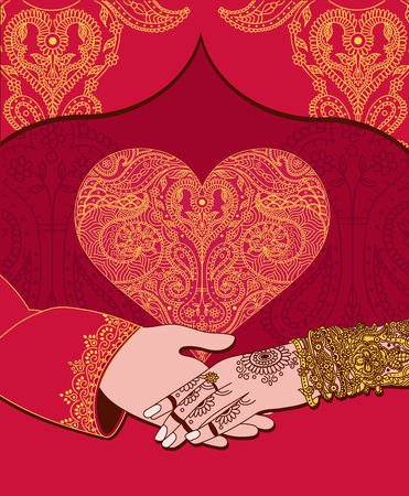 Foto de Wedding indian invitation card with golden heart. India marriage template.Beautifully decorated Indian bride hand.Close-up of groom holding brides hand.Indian bride with mehandi in hand in vector - Imagen libre de derechos