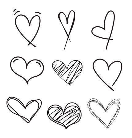 Illustration pour Hand drawn doodle heart vector set.Rough marker hearts isolated on white background. Outline vector heart collection. - image libre de droit