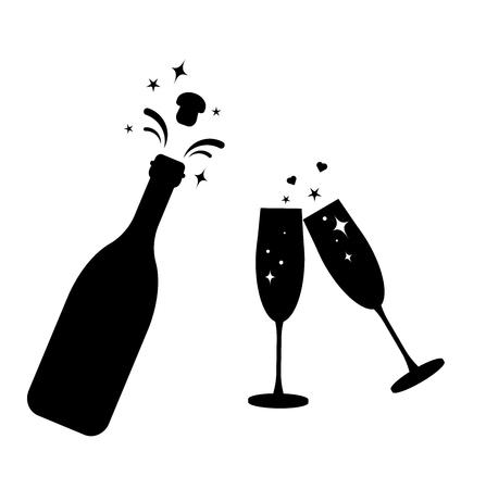 Illustration pour Champagne bottle vector glass icon. Bottle and two glasses black silhouette icons. - image libre de droit