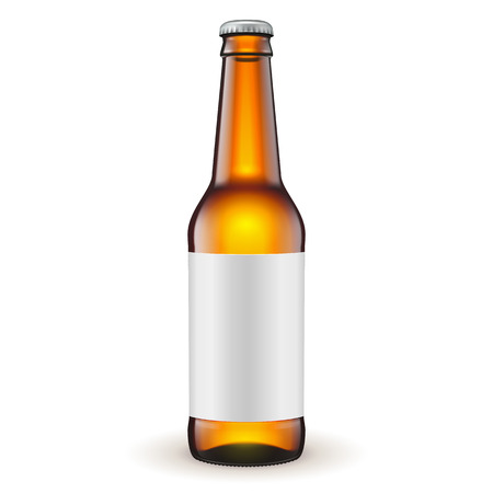 Glass Beer Brown Bottle With Label On White Background Isolated. Ready For Your Design. Product Packing. Vector EPS10