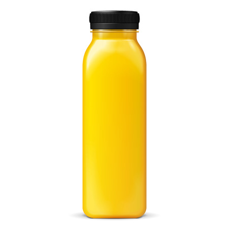 Illustration pour Long Tall Juice Or Jam Glass Yellow Orange Bottle Jar On White Background Isolated. Ready For Your Design. Product Packing. Vector EPS10 - image libre de droit