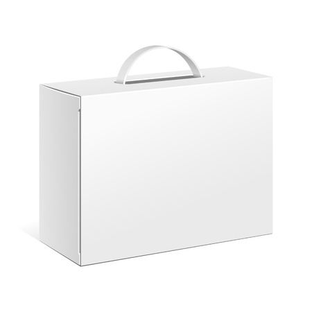 Carton Or Plastic White Blank Package Box With Handle. Briefcase, Case, Folder, Portfolio Case. Illustration Isolated On White Background. Ready For Your Design. Product Packing Vector EPS10