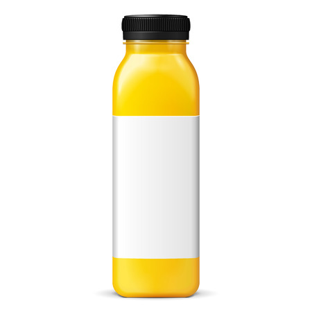 Illustration pour Juice Or Jam Glass Yellow Purple Bottle Jar With Label On White Background Isolated. Mock Up, Mockup Template Ready For Your Design. Vector EPS10 - image libre de droit