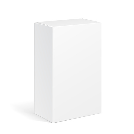 Illustration pour White Product Cardboard Package Box. Illustration Isolated On White Background. Mock Up Template Ready For Your Design. Vector EPS10 - image libre de droit
