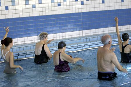 Courses for seniors in swimming pool deck