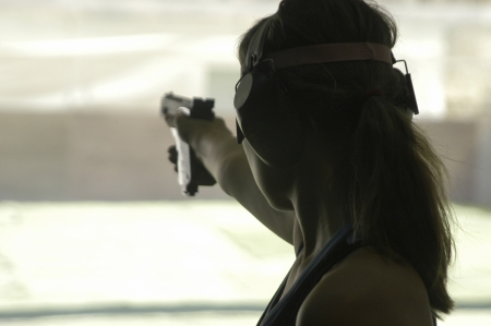 European Championship with a gun shooting sports competition short
