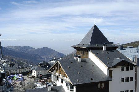 Pradollano roofs and buildings in the ski resort of Sierra Nevada