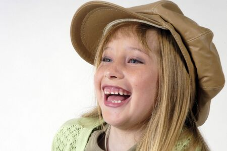 Blond girl with hat