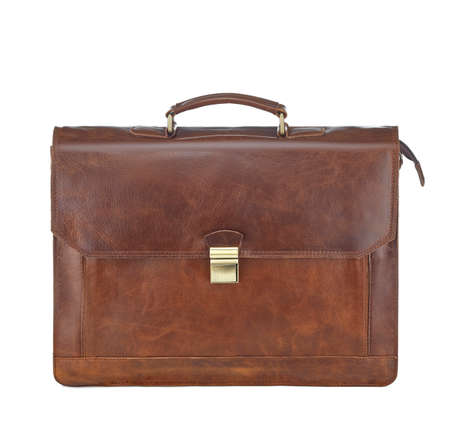 Photo pour Beautiful red-brown leather briefcase with a clasp, isolated on a white background. Concept: business, document management, shares, capital investment, investment. - image libre de droit