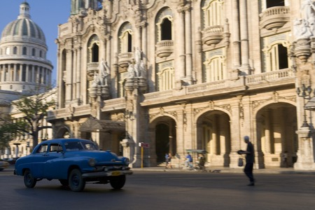Havana, Cuba - March 2006: El Capitolio and Gran Teatro de La Habana Alicia Alonso