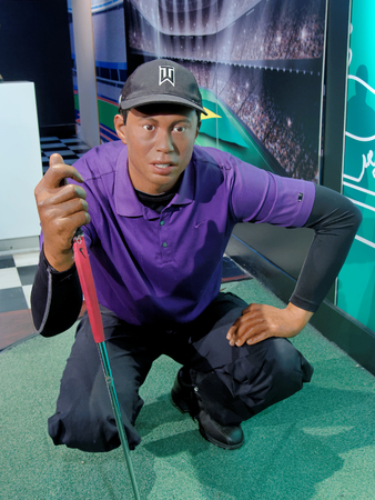 BLACKPOOL, JANUARY 14: Madame Tussauds Blackpool, UK 2018. Eldrick Tont Woods, better known as Tiger Woods, is an American professional golfer who is among the most successful golfers of all time.