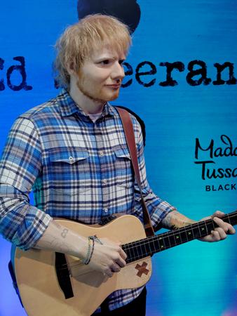 BLACKPOOL, JANUARY 14: Madame Tussauds, UK 2018. Edward Christopher Sheeran sings and plays the guitar.